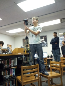 Senior Jack Yurch prepares to shoot video of the dancePhoto by Jack Fischer