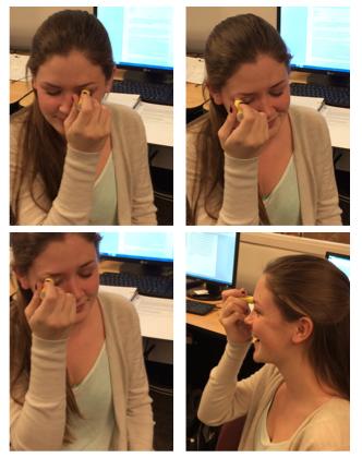 Senior Megan O'Donnell demonstrates her beezing technique